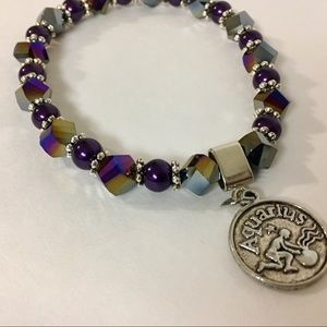 NWT Purple Crystal Aquarius Quote Charm Bracelet